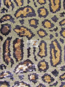 Leopard Sequins Spandex Decorative Dress Fabric
