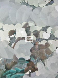 Flutter Sequin Mesh Fabric White