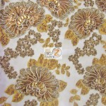 Sequins Beaded Gem Mesh Fabric Bronze