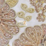Sequins Beaded Gem Mesh Fabric Champagne