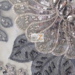 Sequins Beaded Gem Mesh Fabric Charcoal