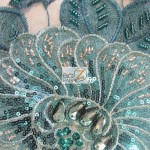 Sequins Beaded Gem Mesh Fabric Teal