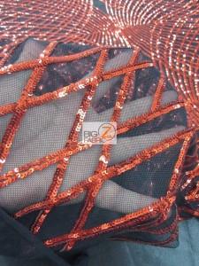 Unique Diamond Lace Sequin Dress Fabric Close Up