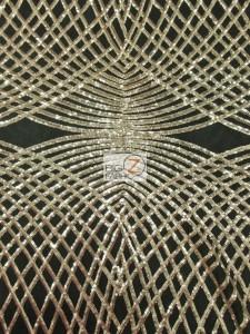 Unique Diamond Lace Sequin Dress Fabric Gold