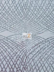 Unique Diamond Lace Sequin Dress Fabric White