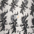 Angel Wings Floral Lace Sequins Fabric Black