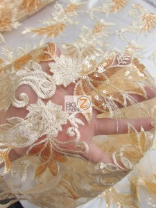 Angel Wings Floral Lace Sequins Fabric Close Up