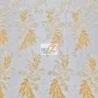 Angel Wings Floral Lace Sequins Fabric Gold