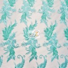 Angel Wings Floral Lace Sequins Fabric Mint