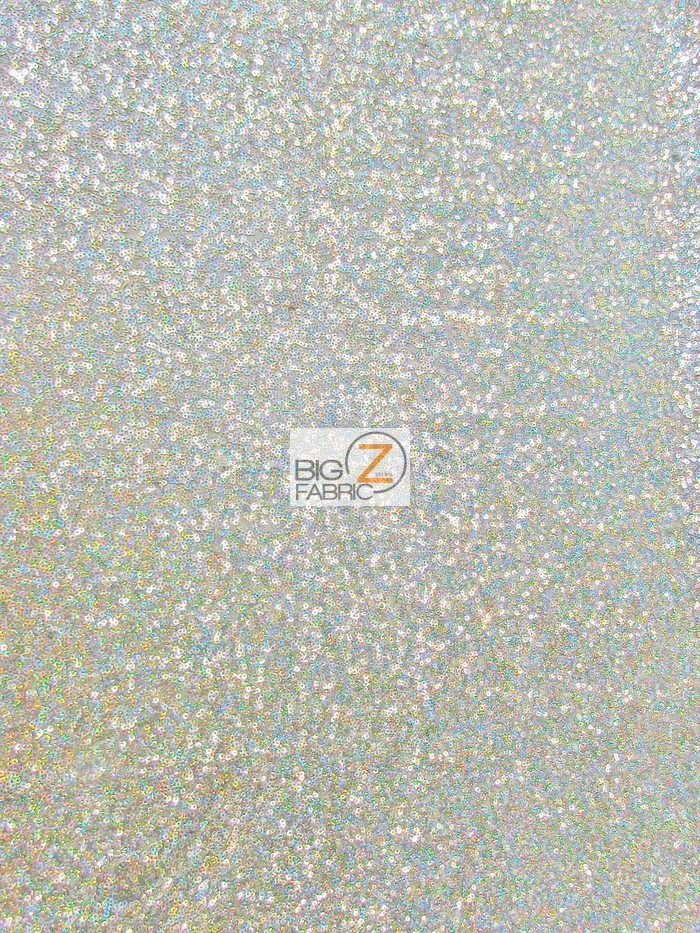 Mini Disc Sequins Fabric Holographic Cool Silver