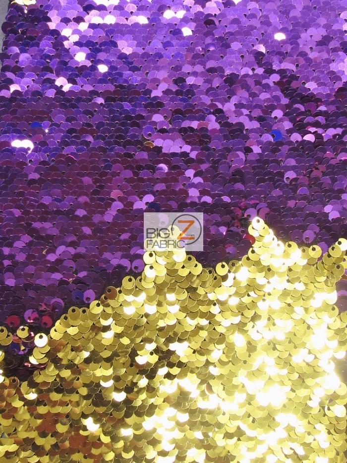 Purple Gold Reversible Mermaid Sequins Fabric