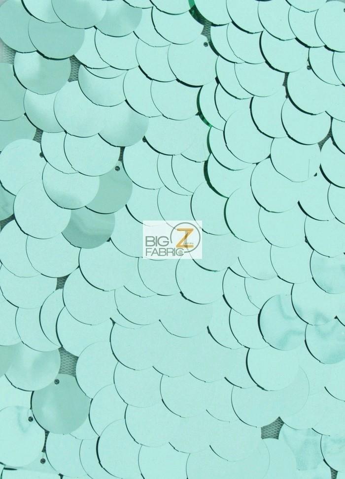 Mint Big Dot Sequins Mesh Fabric