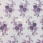 Stunning Dahlia Floral Sequins Lace Fabric Purple