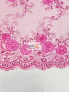 Stunning Dahlia Floral Sequins Lace Fabric Scalloped Edges