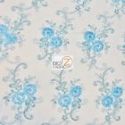 Stunning Dahlia Floral Sequins Lace Fabric Turquoise