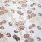 Lovely Roses Floral Sequins Lace Fabric Brown