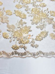 Lovely Roses Floral Sequins Lace Fabric Close Up