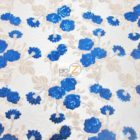 Lovely Roses Floral Sequins Lace Fabric Royal