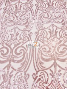 Angel Damask Sequins Sheer Lace Fabric Dusty Rose
