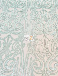 Angel Damask Sequins Sheer Lace Fabric Mint