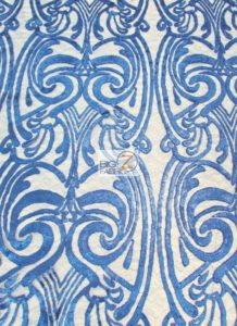 Angel Damask Sequins Sheer Lace Fabric Royal Blue