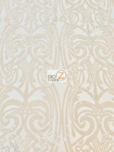 Angel Damask Sequins Sheer Lace Fabric Skin