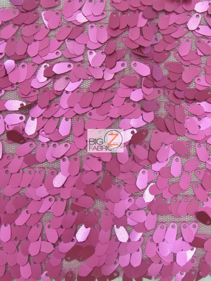 Matte Fuchsia Drop Sequins Fabric
