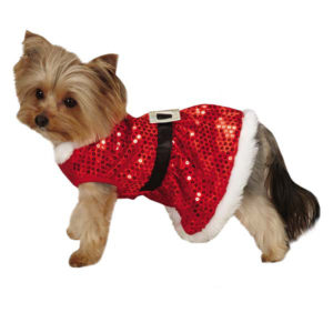 Mrs. Claus Polka Dot Sequins Dog Dress