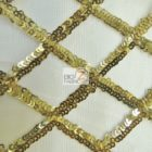 Diamond Lattice Sequins Mesh Fabric Champagne