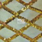 Diamond Lattice Sequins Mesh Fabric Gold