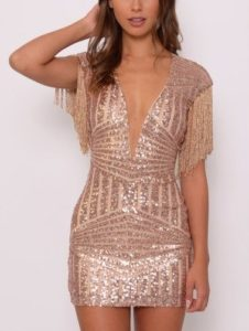 Elegant Sequins Cosmic Mini Dress