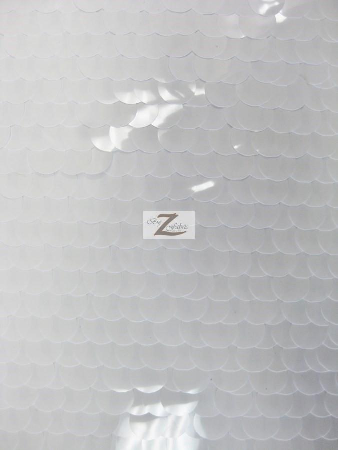 Shiny White Big Dot Sequins Mesh Fabric
