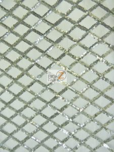 Golden Diamond Sequins Dress Fabric Silver