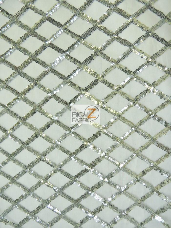 Golden Diamond Sequins Dress Fabric Silver