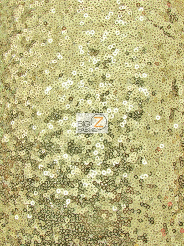 Mini Disc Sequin Mesh Fabric Golden Yellow