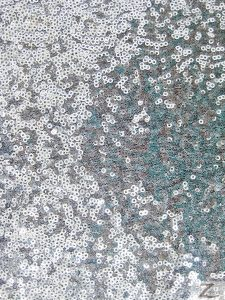 Mini Disc Sequin Nylon Mesh Fabric Shiny Silver
