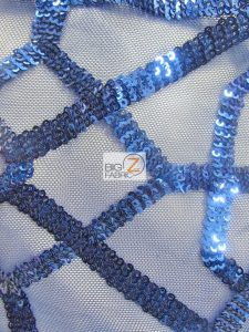 Geometric Dubai Sequins Fabric Royal Blue