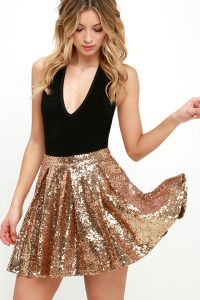 Pretty Gold Sequins Skirt
