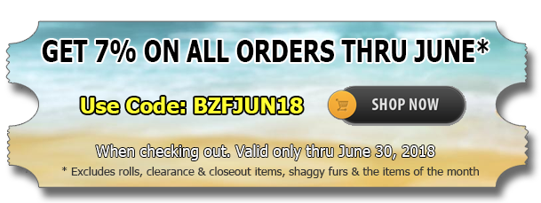Big Z Fabric's June Discount Now Available!!!