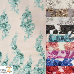 Floral Scale Sequins Mesh Fabric